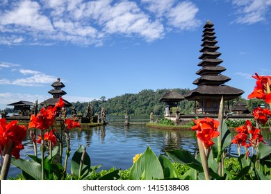 Two spires of the floating Pura Ulun Danu, a Hindu temple on Lake Bratan, Bedugul, Bali, Indonesia