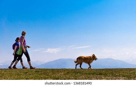 Two sportive women with a dog are walking with mountains and blue sky as background