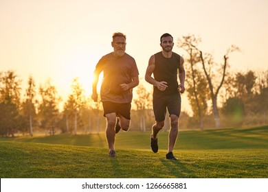 The two sportsmen running on the grass on the sunset background