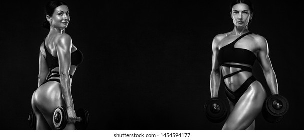 Two sporty and fit women athletes, bodybuilders. Workout and fitness motivation. Black and white photo.