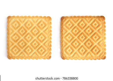 Two square cookies isolated on white background. Top view of two square biscuit.