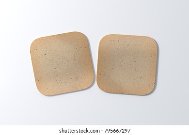 Two square vintage coasters on white background. 3d illustration