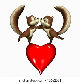 Two Squirrels, dancing on a heart.