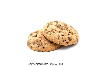 Two Stacked Cookies On Simple White Background