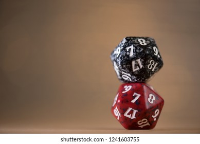 Two stacked D20 Polyhedral Dice for RPG, DND, table games with room for text space.