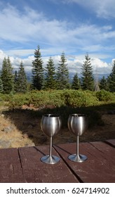 Two stainless steel wine glasses sit at the edge of a picnic table in nature,