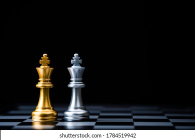 Two Stand of golden and silver king chess . Winner of business alliance and marketing strategy planing concept.