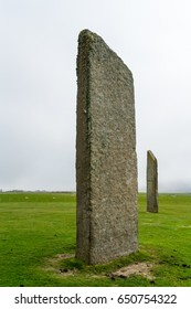 Two of the standing stones of Stenness, a neolithic henge monument on the Isle of Orkney,Scotland UK near the Ring of Brodgar and Maeshowe