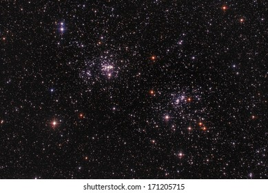 Two star-clusters as seen through a telescope.