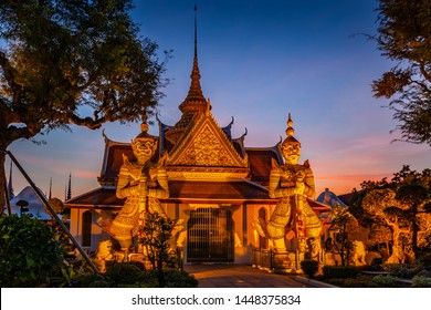 Two statue giant at churches Wat Arun, Bankok Thailand.