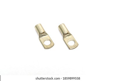 Two steel cable lugs on an isolated white background