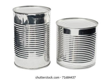 Two steel food cans isolated on white