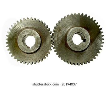 Two steel gears isolated on white background