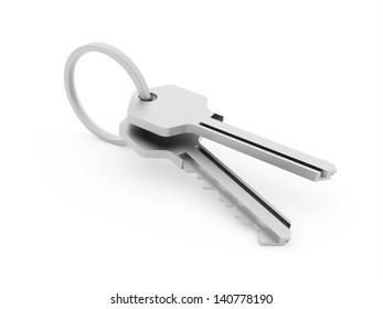 Two steel keys isolated on white background