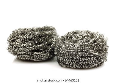 two steel wire scrubs on a white background