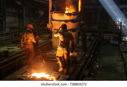 Two Steelworkers at the steel plant