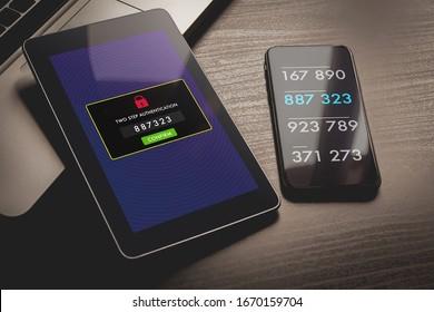 Zweistufige Authentifizierung, zweistufiges Verification-SMS-Code-Passwort-Konzept. Smartphone mit spezieller 2FA Software und Tablet PC mit Multi-Factor Authentifizierungssicherheit und sicherem Anmeldeformular.