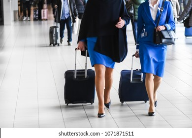 Two stewardess walk on airport station with suitcases in blue.