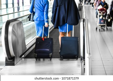 Two stewardess walk through escalator or quick movie stairs on airport lobby or station with suitcases.