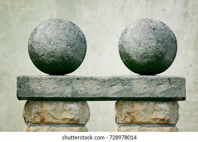 two stone balls
