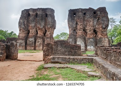 Two stone towers of the royal palace are still standing in the ancient city of Polonnaruwa on Sri Lanka.