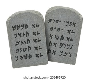 Two Stones with Ten Commandments in Ancient Hebrew Isolated on White Background.
