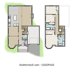 Two Storey Floor Plan Colored
