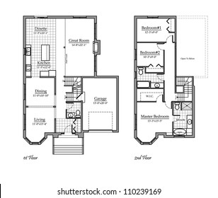 Two Storey Floor Plan with Room Names