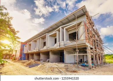 two storey houses are under construction in Thailand, modern house design.