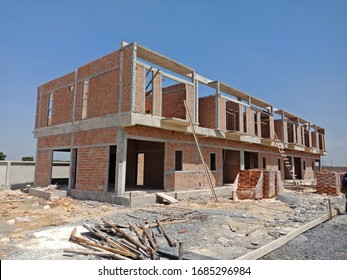 two storey houses are under construction in Thailand, modern house design