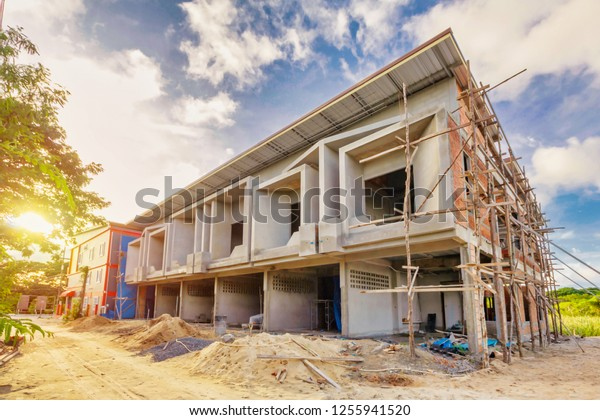 Two Storey Houses Under Construction Thailand Industrial Stock Image