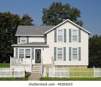 Two story white framed home