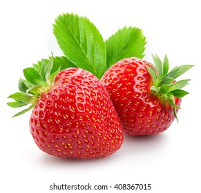 Two strawberries close up on white background