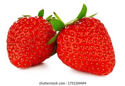 Zwei Erdbeeren im weißen Hintergrund isoliert