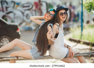 two street girls, happy sisters