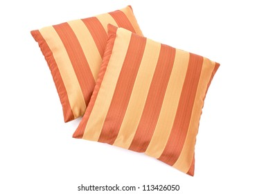 two striped pillow on white background