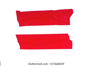 Two strips of red adhesive tape isolated on a white background.
