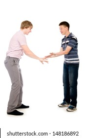 Two students who are successful hit on his hands. Isolated on white background