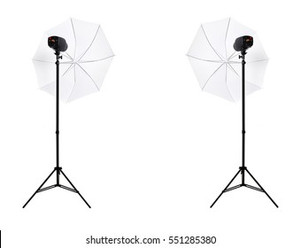 Two studio lights with umbrella isolated on the white background