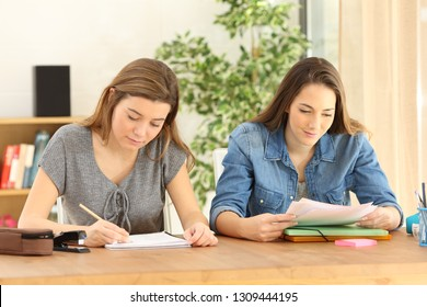 Two studious students doing homework writing and reading notes at home