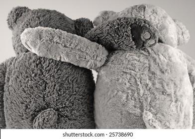 Two stuffed animal bears in embrace