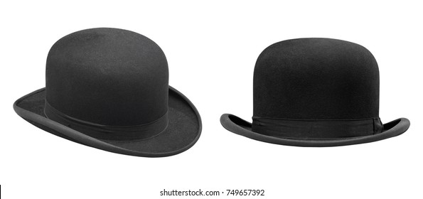 Two stylish black bowler hat isolated with clipping path