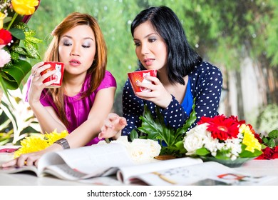 Two stylish girlfrineds in exotic environment drinking coffee and skim in a fashion magazine