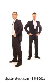 two successful businessmen isolated on white