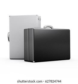 Two suitcases on a white background. 3D render illustration.