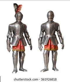 two suits of knight armour isolated over white