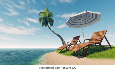 Two sunbeds, parasol and coconut palm on empty tropical island among calm ocean at daytime. Illustration was done from my own 3D rendering file.