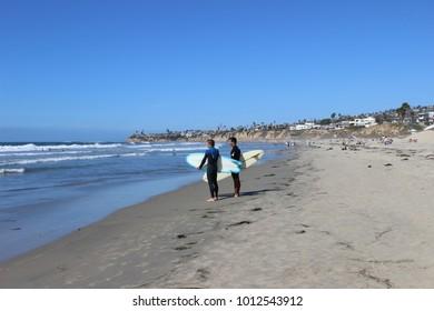 Two Surfer Dudes on San Diego Beach