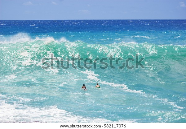 Two Surfers about to Ride the Waves