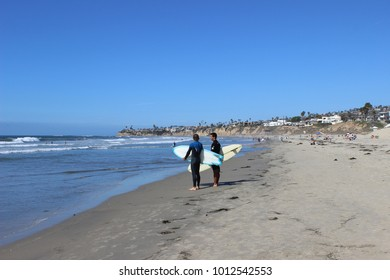 Two Surfers On Pacific Beach